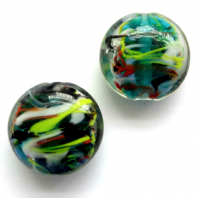 10 Green Lampwork Glass 20mm Disc Oval Beads
